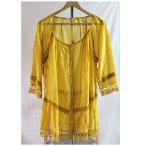 Golden Yellow Boho Tunic Blouse Silk Blend Italy L